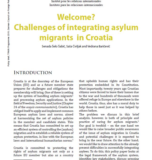 Welcome? Challenges of integrating asylum migrants in Croatia