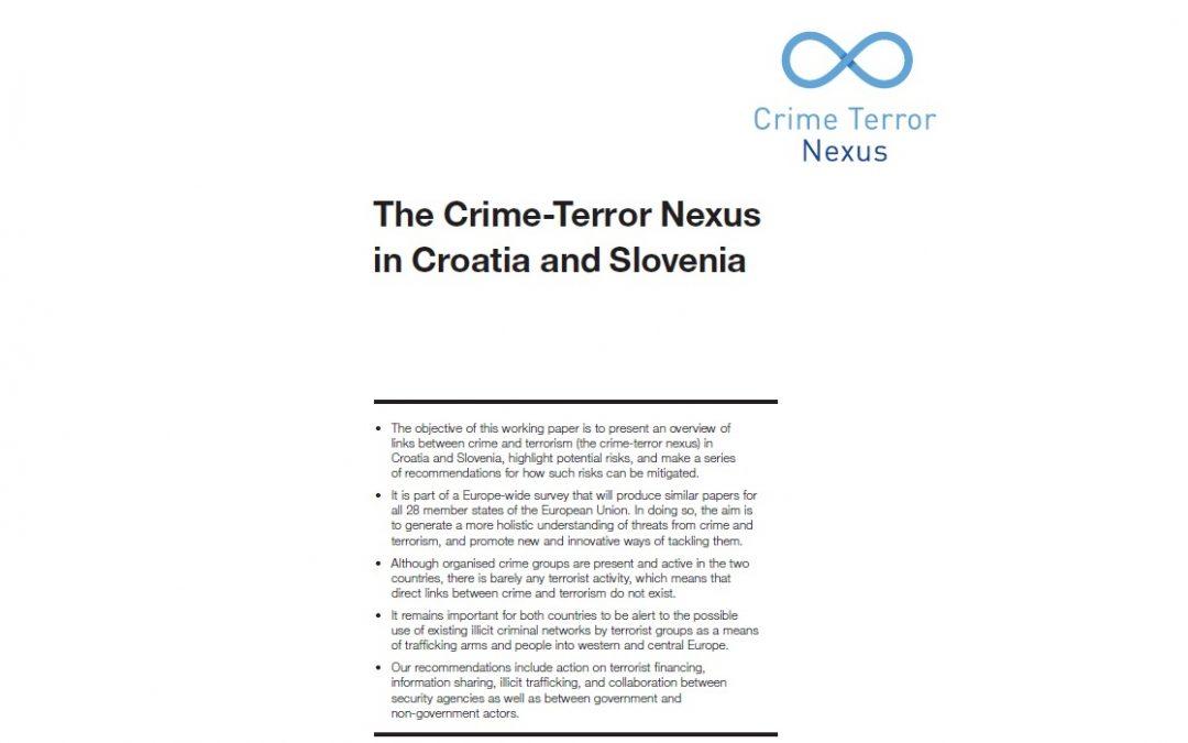 """Poziv na predstavljanje studije """"The Crime Terror Nexus in Croatia and Slovenia"""""""