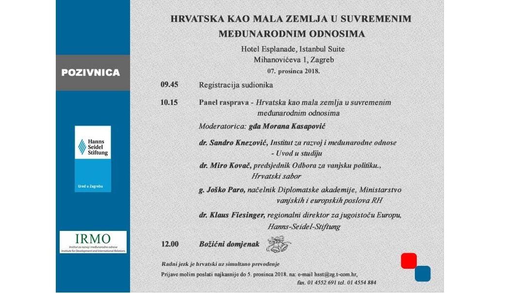 Prezentacija studije: Hrvatska kao mala zemlja u suvremenim međunarodnim odnosima