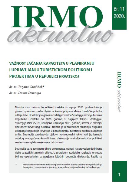 """IRMO aktualno """"Važnost jačanja kapaciteta u planiranju i upravljanju turističkom politikom i projektima u Republici Hrvatskoj"""""""