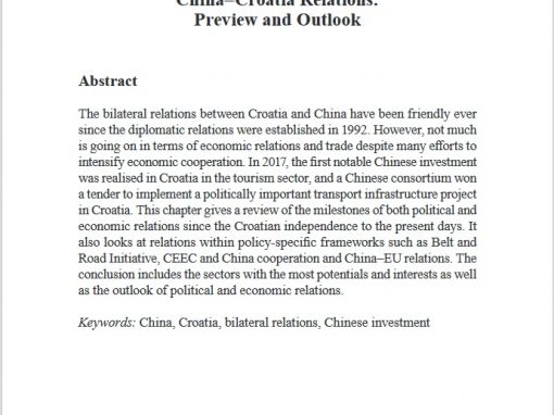 """Chapter in a book """"China-Croatia Relations: Preview and Outlook"""""""