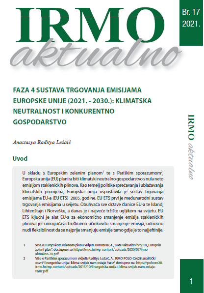 """IRMO aktualno """"Faza 4 sustava trgovanja emisijama Europske unije (2021. – 2030.): klimatska neutralnost i konkurentno gospodarstvo"""""""