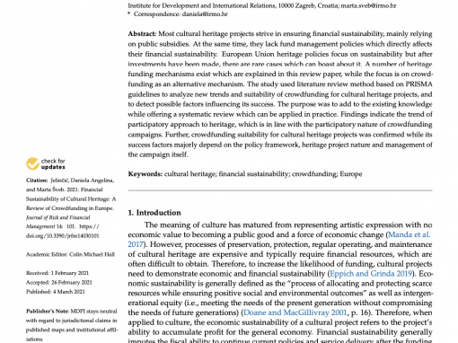 """Article """"Financial Sustainability of Cultural Heritage: A Review of Crowdfunding in Europe"""""""