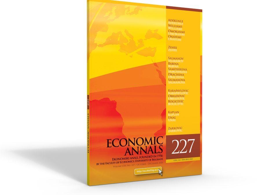 Nevenka Čučković i Valentina Vučković objavili rad u časopisu Economic Annals indeksiran u SCOPUS-u