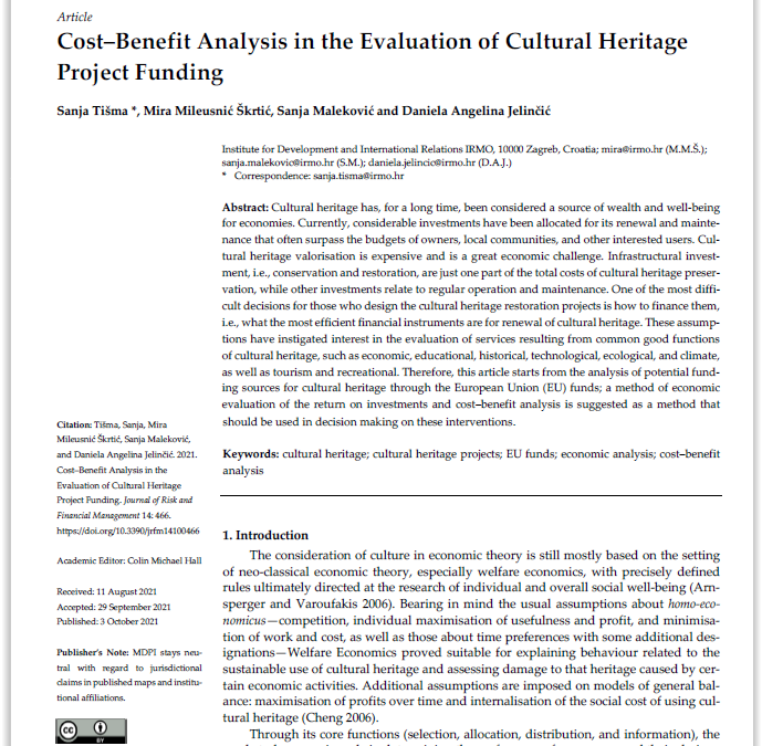 """Scientific article """"Cost–Benefit Analysis in the Evaluation of Cultural Heritage  Project Funding"""""""