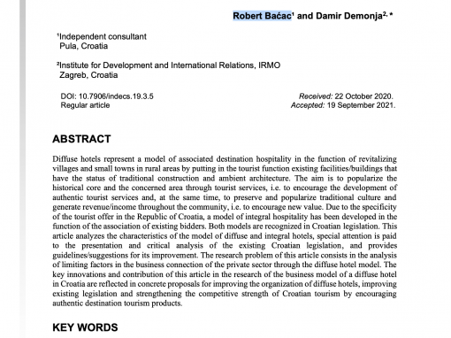 """Scientific paper """"Model of Associated Hospitality: Diffuse and Integral Hotel in the Republic of Croatia"""""""